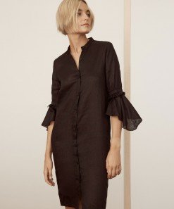 Tulah Linen Shirt Dress Black