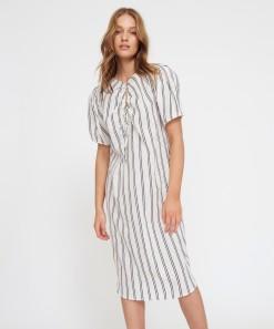 Luna Dress Black Stripe