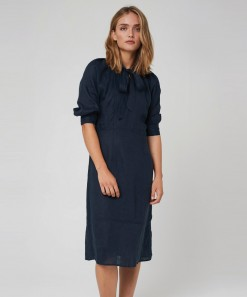 Aimee Linen Dress Navy