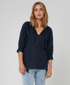 Aimee Linen Top Navy