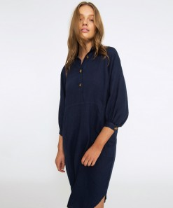 Breanna Linen Dress Navy