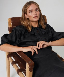 Aimee Linen Dress Black