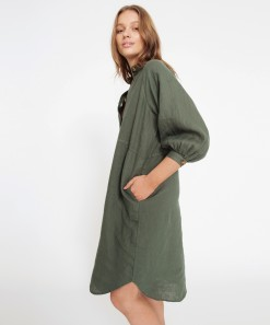 Breanna Linen Dress Pine