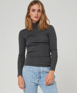 Morri Wool Rib High Neck Charcoal