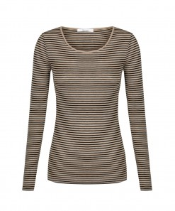 Morri Wool Stripe Scoop Neck Latte/Black