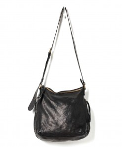 Perforated Leather Slouchy Bag Black