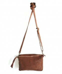 Perforated Leather Shoulder Bag Cognac