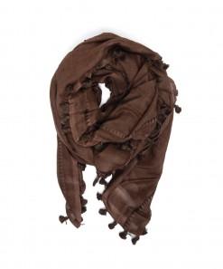 Cloth Wool/Silk Pom Scarf Cocoa