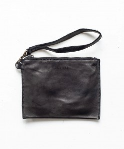 Small Leather Flat Pouch Black