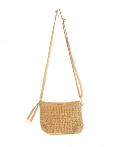 Woven Leather Pouch Bag Natural
