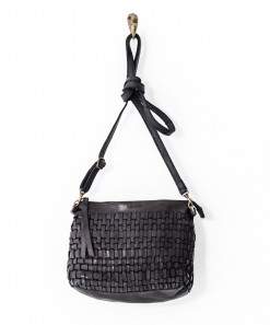 Woven Leather Pouch Bag Black