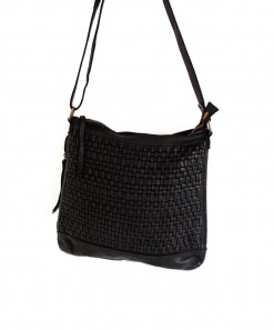 Woven Leather Satchel Bag Black